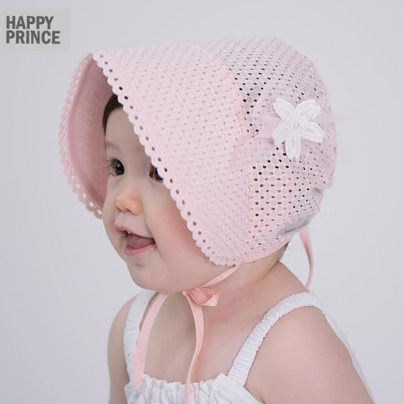 新款新生宝宝系带胎帽纯棉透气大宽檐遮阳防晒公主帽婴儿帽子春夏