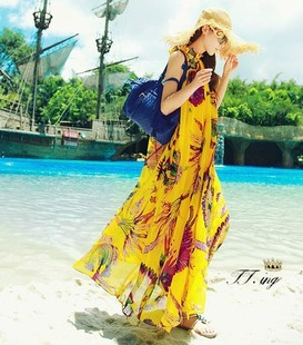 Seaside resort Bohemian beach feather print chiffon skirt length skirt large swing dress child