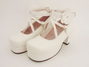 Princess platform shoes tailor LOLITA white butterfly buckle shoes