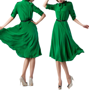 100% silk elegant retro Slim was thin long sleeves Dresses silk jumpsuit dress put on a large green clearance