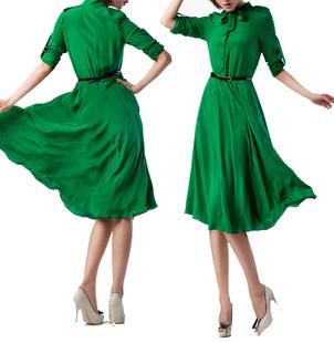 优雅复古100%桑蚕丝修身显瘦长袖大摆连衣裙真丝连衣长裙绿色清仓