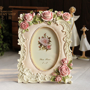6 inch European style retro photo frame photo frame carved roses Korean countryside home painting frame frame XK38