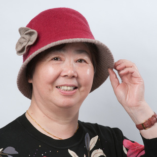 Fall Winter middle aged ladies woolen hat bucket hats hat autumn and winter hat elderly mother woolen hat