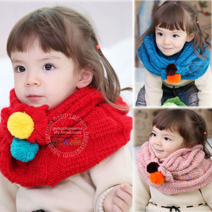 Cheap baby girl accessories fall and winter wool scarf children scarves fashion color knitting new child clearance