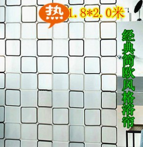 Hot foreign trade EVA thick waterproof mildew shower curtain black and white plaid bathroom curtain 180 200