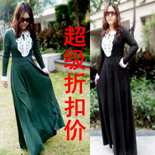 2014 autumn and winter new European and American long sleeved knit cashmere dress Korean yards lace mopping big skirt dress
