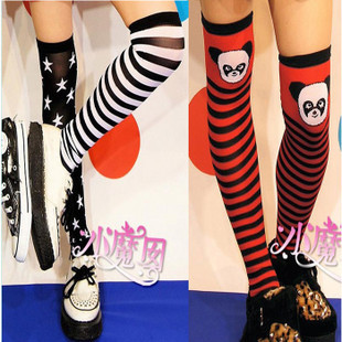 Harajuku little magic nan 1365 stars stripes MILK knee socks