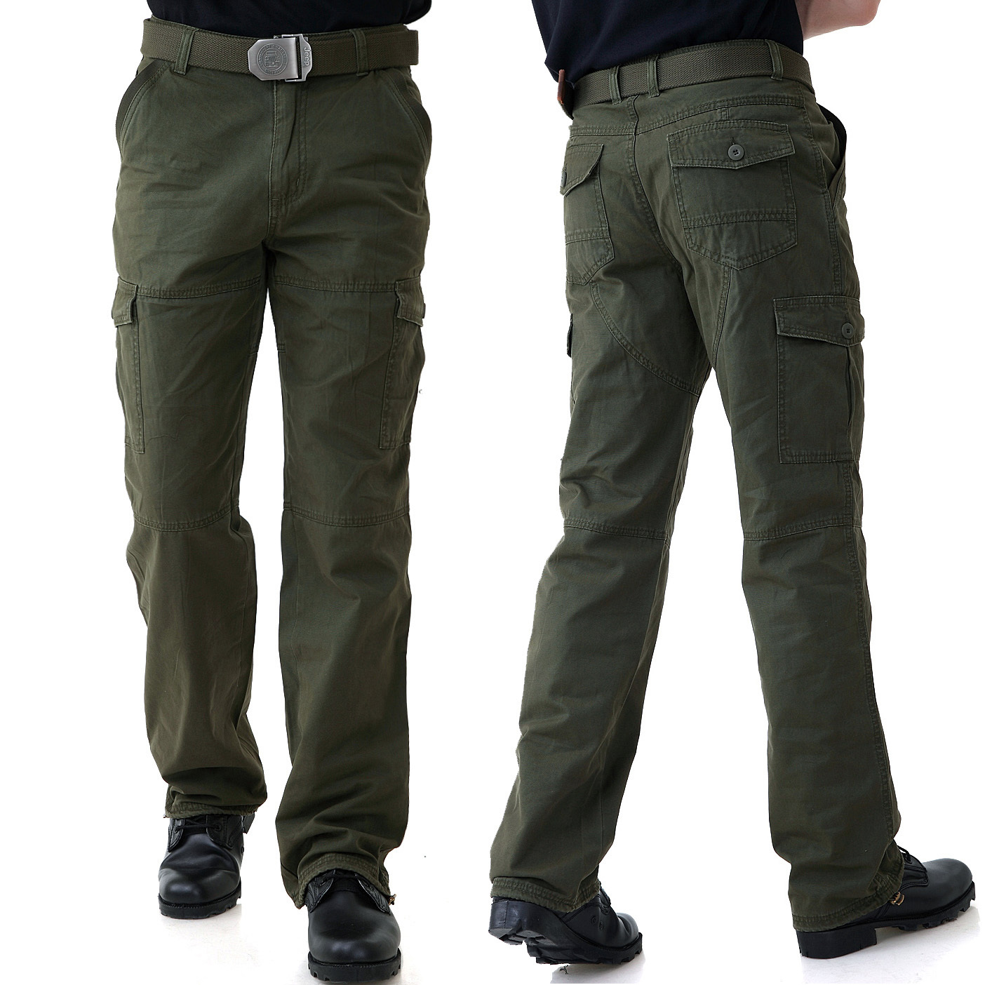 Mens leisure sports loose large size training pants, mountaineering camouflage pants, pure cotton military pants as training tooling pants