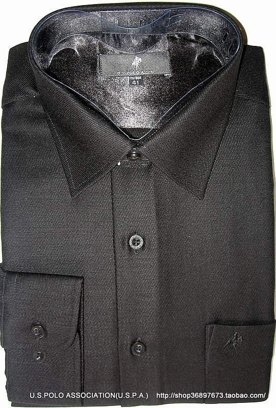 U. S. Polo Assn American Polo Association boutique mens wool shirt classic black