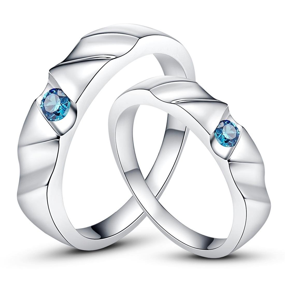 Aquamarine 925 Sterling Silver Plated Platinum Wedding Ring Korean couples diamond pair ring engraving package