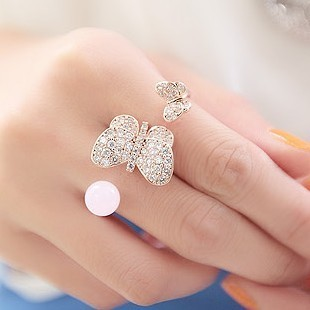 South Korea Shopping bride fairy smug it double ring vintage jewelry butterfly pearl palace ring finger ring female