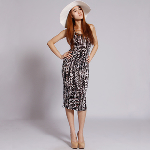 Beach Vacation zebra skirt beaded hip was thin tight Slim Vest Dress long dress