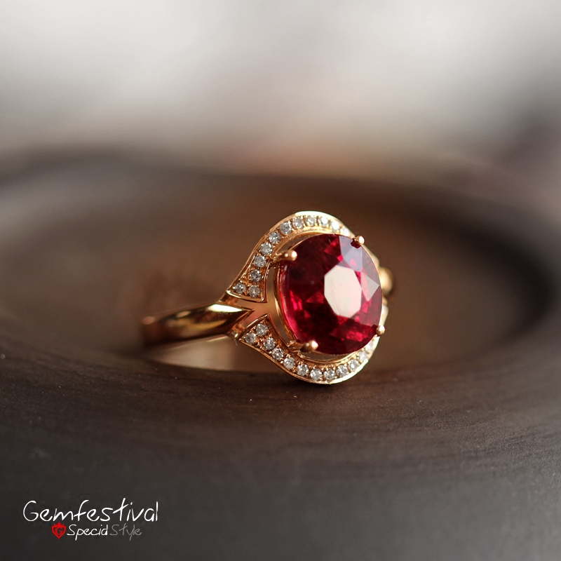 宝石节 18K金镶嵌钻石 精品珠宝级rub红碧玺 椭圆形刻面 戒指