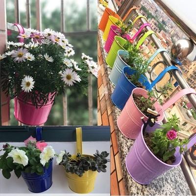 欧式田园彩色铁皮吊盆家居装饰阳台壁挂花盆垂吊创意绿植多肉花盆