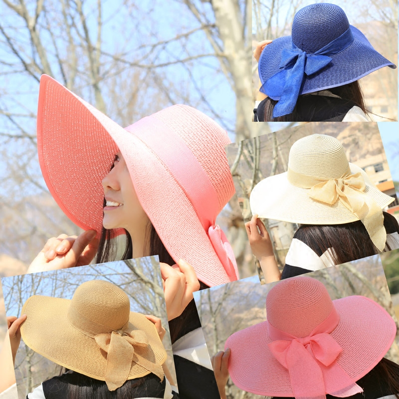 Hat girl summer tide sun protection UV protection folding Big Brim Sun Beach Sun Protection hat outdoor straw hat