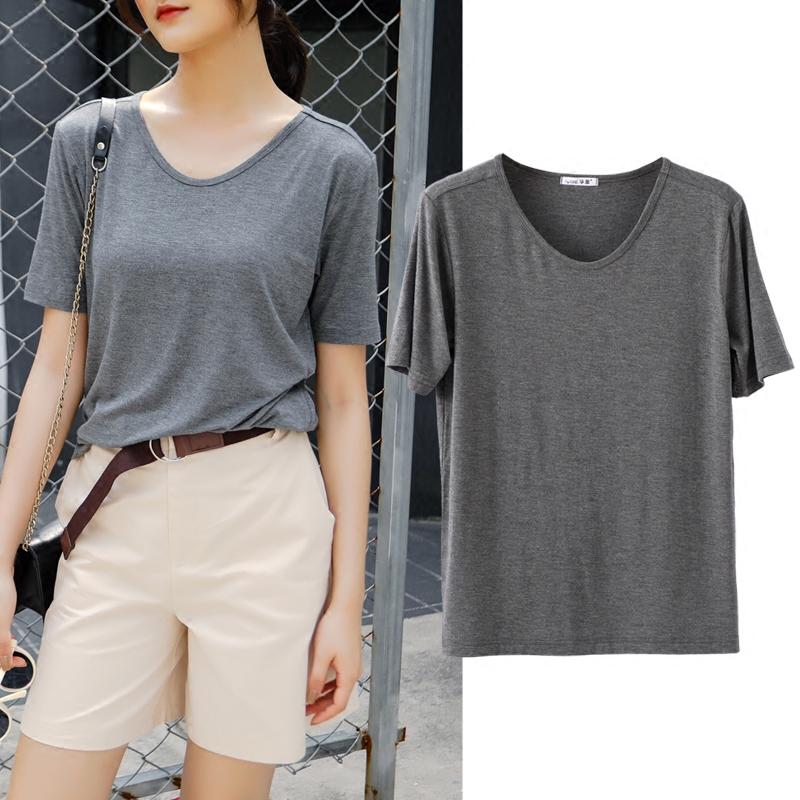 短袖女2018新款夏季宽松上衣大码莫代尔T恤韩版学生v领半袖打底衫