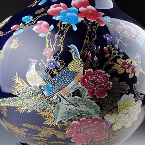 鸿轩景德镇陶瓷器 宝蓝色落地大花瓶摆设 现代家居客厅工艺品摆件