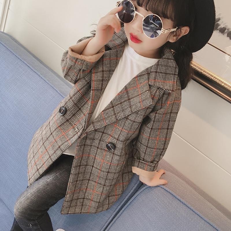 Корейская волна ребятишки 2017 осень новый девочки сетка костюм пальто ребенок куртка ребенок длина пальто