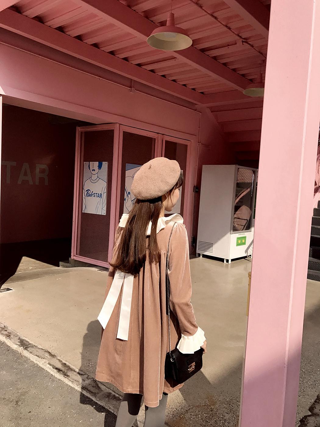 包邮。【ANLI STYLE】洛丽塔小公举 荷叶领 蝴蝶丝绒宽松娃娃裙