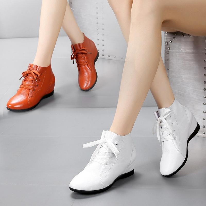 内增高休闲女鞋2019秋冬真皮高帮鞋棉鞋平底单鞋系带大码软底皮鞋