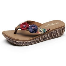 Beach Shoes and Slippers Female Summer Fashion Outside Wear Seashore Slip-proof Thick-soled Slope-heel Sandwich Holiday Flower Flip-flops