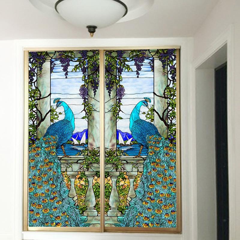 吉祥喜庆玄关玻璃孔雀彩色贴膜 防晒定制不透明窗户镜子玻璃贴纸