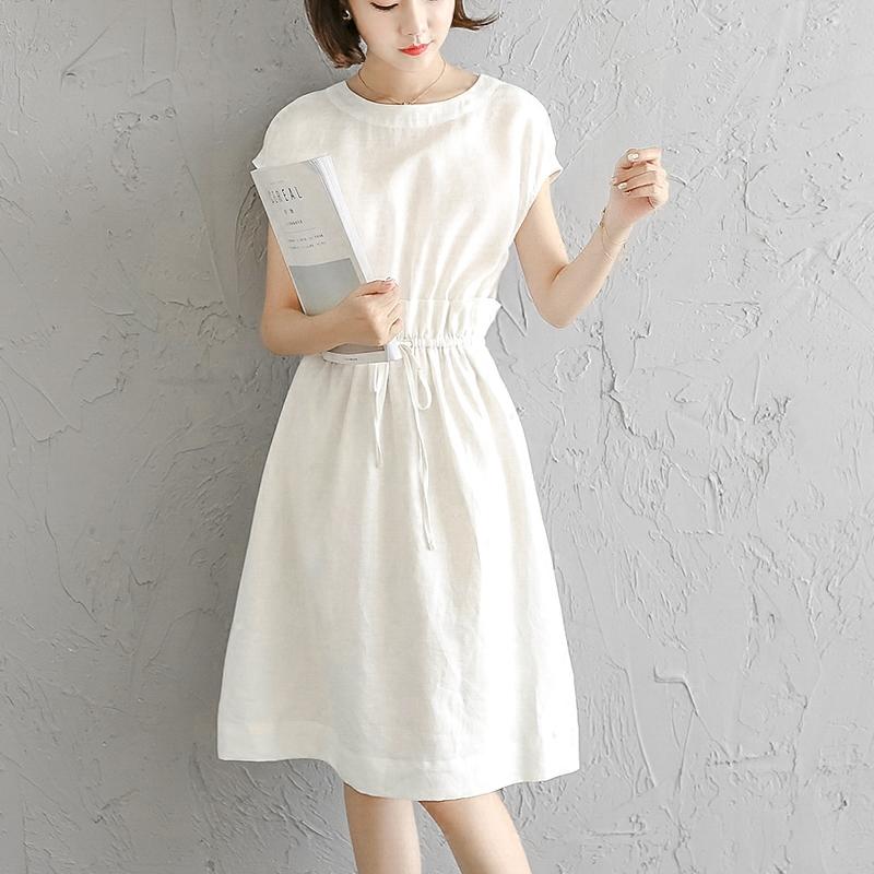 夏季女装2018新款棉麻白色亚麻料休闲裙收腰连衣裙子小清新森系仙