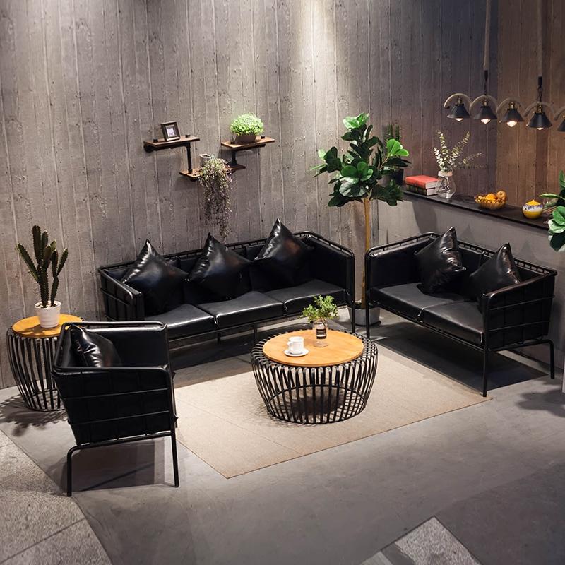 Простой офис железо диван кофейный столик сочетание один двойной три работа комната одежда магазин случайный палуба столы и стулья