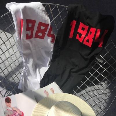 2017春夏新款 字母印花短袖纯棉t恤女白色百搭宽松休闲1984上衣