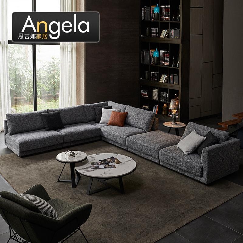北欧风格家具大户型现代简约布艺沙发可拆洗l型米兰轻奢羽绒沙发