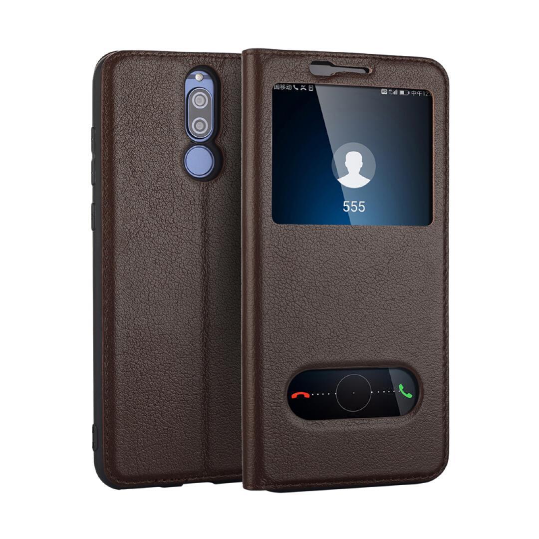 壳工坊 麦芒6手机壳真皮开窗手机套免翻盖接听保护套外壳牛皮套商