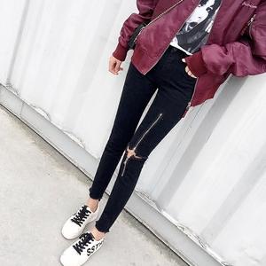 领3元券购买2019春夏黑色小脚韩版紧身潮牛仔裤