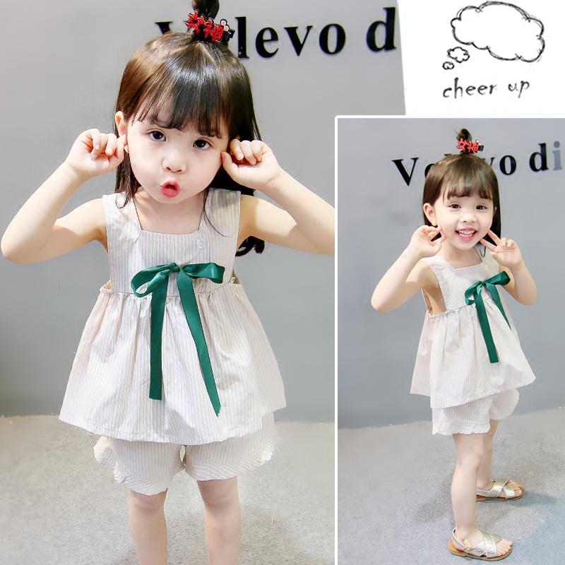 女宝宝夏装套装0一1-2-3岁韩版潮2018新款纯棉时尚女童洋气两件套