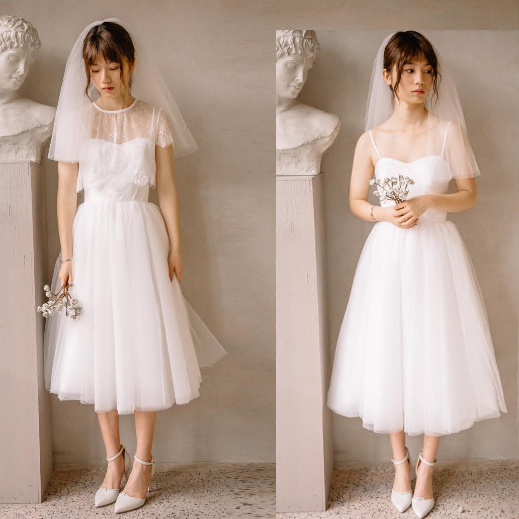 2018新款两穿轻婚纱礼服旅行旅拍写真短款蕾丝吊带A摆公主森系纱