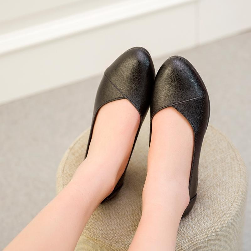 2017春夏韓版豆豆鞋女淺口小白鞋坡跟鞋防滑孕婦媽媽鞋單鞋工作鞋