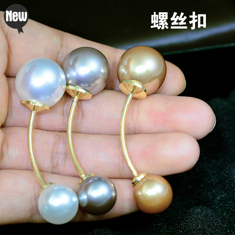 Pin type screw button double head Pearl Line Brooch trumpet sleeve shirt accessories sweater pin Fashion Scarf button