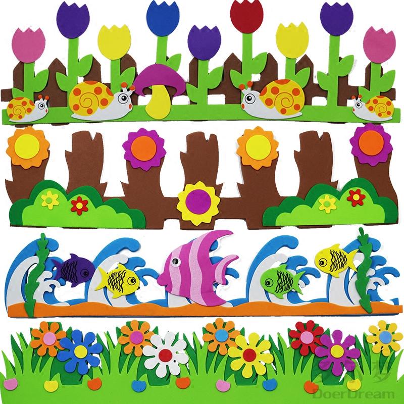Детский сад метоп декоративный материал цветок колонка EVA трехмерный пена забор бар культура из черного доска отчет ткань положить наклейки для стен