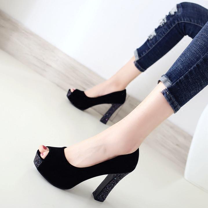 鱼嘴鞋黑色浅口2020春夏季新款单鞋