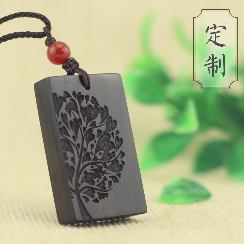 Custom made sandalwood Lovers Necklace Pendant size pattern original creative design square engraved name tag package