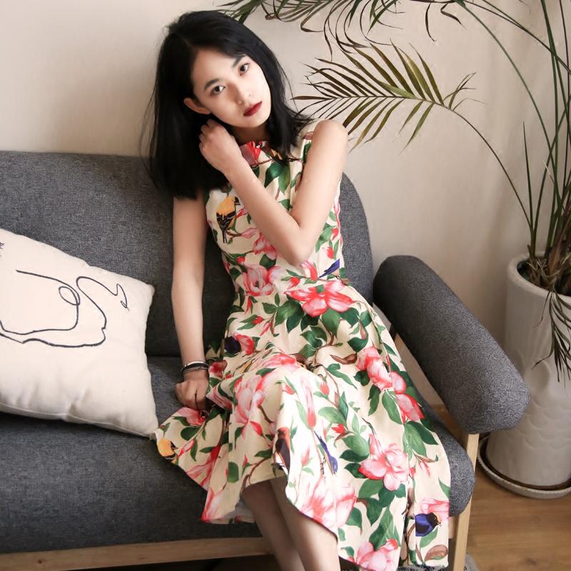 自制复古女装 赫本无袖连衣裙vintage牡丹印花一字领喇叭裙中长裙