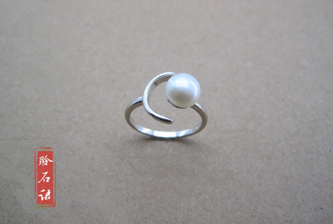 Designers hand-made moon Natural Pearl Sterling Silver Ring creative ring opening ring Trinket