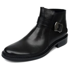 2017新款男靴英伦圆头高腰皮鞋头层牛皮马丁靴纯皮短靴搭扣真皮靴