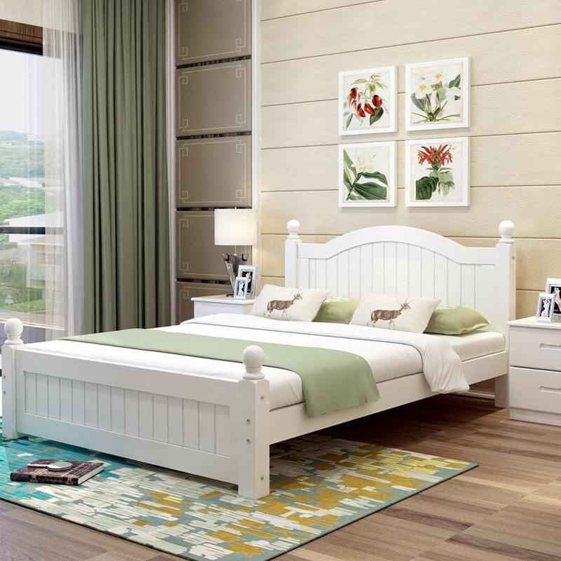 Простой современный дерево двуспальная кровать господь ложь 1.5 метр 1.8 кровать принцесса кровать континентальный кровать сосна 1.2m односпальная кровать