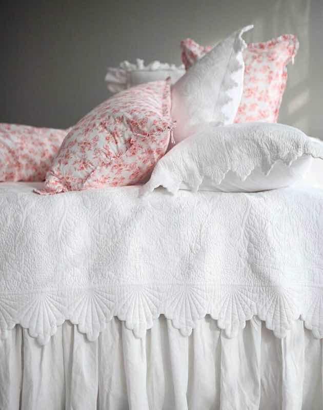 出口纯棉韩国床盖三件套复古刺绣绗缝被全棉空调被纯白色双人床品