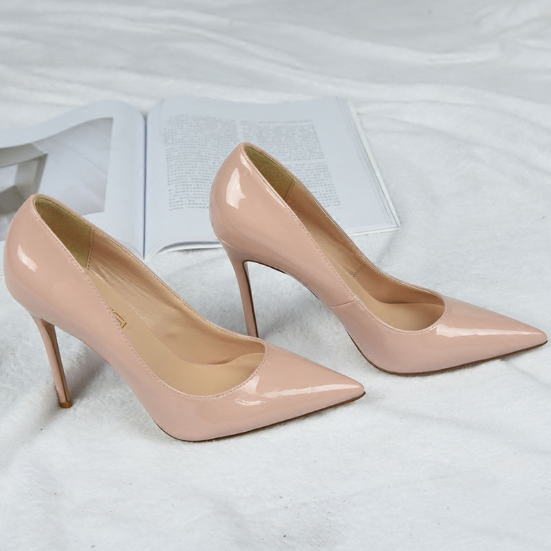 Nude high-heeled shoes womens thin heels 21 new Mercure womens leather shoes fashion versatile pointed single shoes