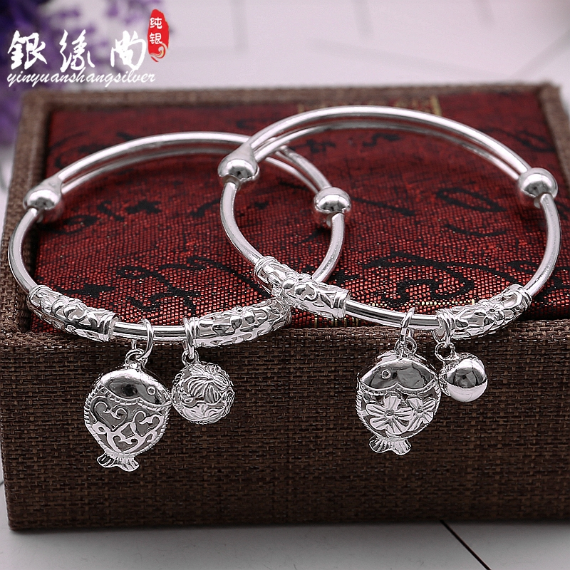 S990 silver bracelet womens smooth solid bell simple with small fish pendant push pull silver bracelet Personalized Silver Bracelet