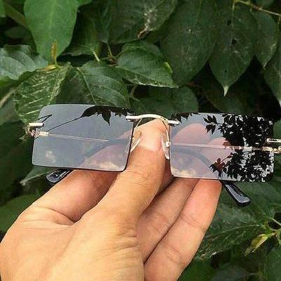 High end new product anti fatigue driving mens outdoor rectangular frameless Sunglasses natural crystal.