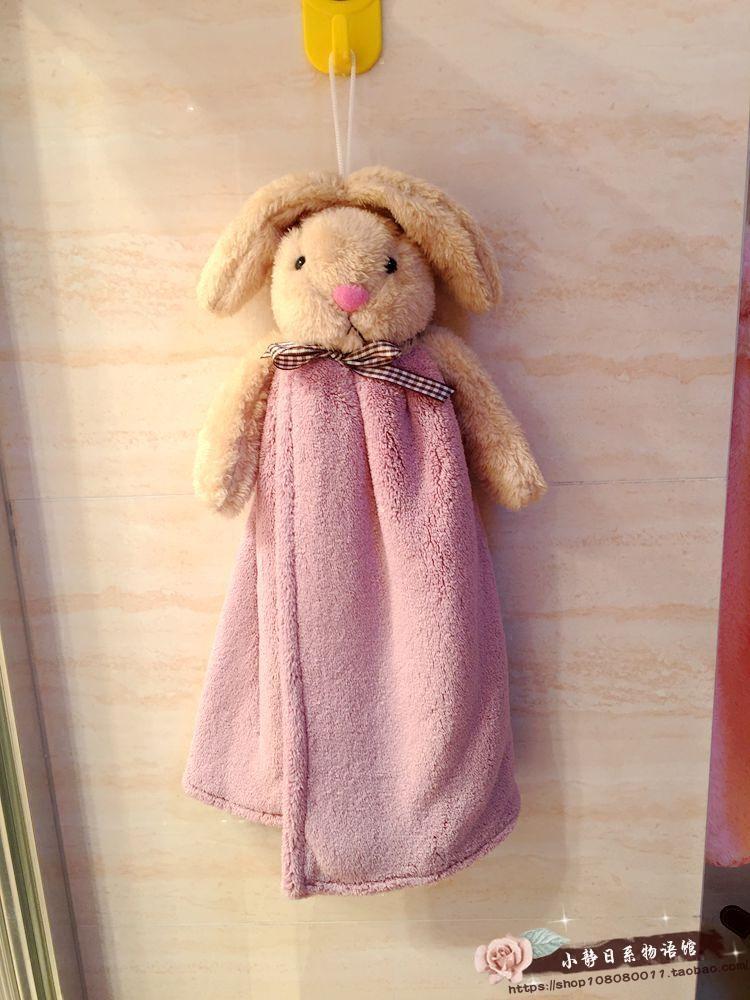 日韩系可爱立体卡通厨房浴室挂绳吸水擦手巾方巾手帕 幼儿园童巾