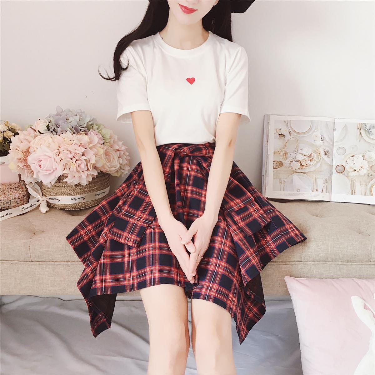 夏季女新款爱心T恤拼接不规则苏格兰格子短袖连衣裙日韩学生女装
