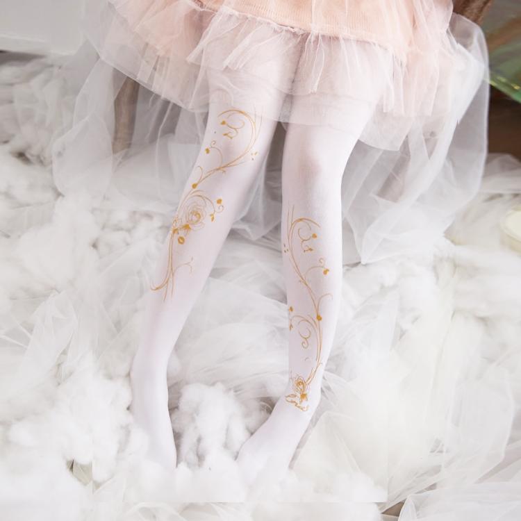 春夏日系洛丽塔lolita连裤丝袜不透肉烫金丝袜复古玫瑰花百搭袜